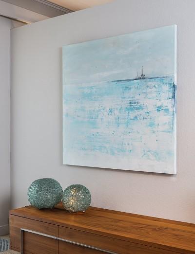 Schilderij - Horizonte Marina - Aqua